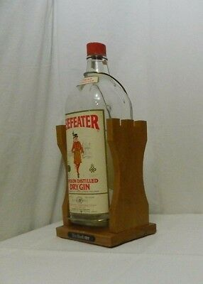 Beefeater Dry Gin One Gallon Empty Bottle with Pour Assist Stand Bar Man Cave