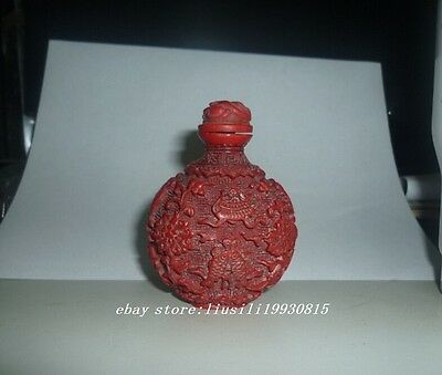 Chinese Red Coral Color carvings Fish Snuff Bottles