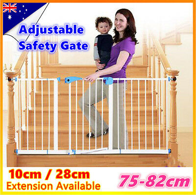 75-82cm Adjustable Baby Pet Child Safety Gate Extra Wide Extension Barrier