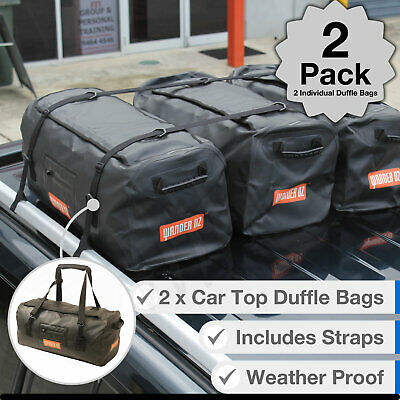 2 x Large Duffle Luggage Carry Bag Overnight Camping 4WD Travel Proof Roof Rack