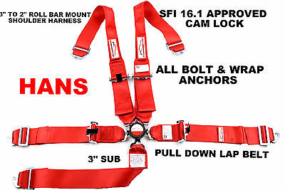 Hans Cam Lock Racing Harness Sfi 16.1 5 Point Bolt Or Wrap Harness Red
