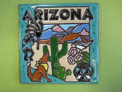 "Ceramic Art Tile 6""x6"" Arizona state southwest collector tile Cactus Coyote H84"