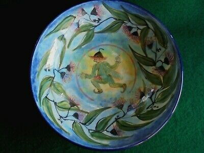 Large Gumnut Fairy Bowl Australian Pottery Signed Morrell