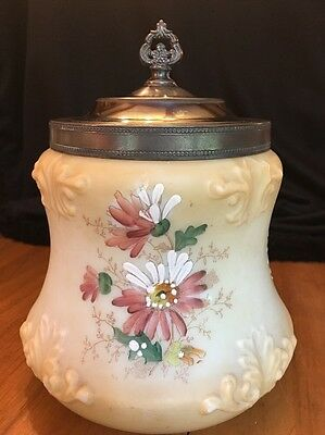 Antique Stunning Elegant Hand Painted Flowers Milk Glass Biscuit Cracker Jar