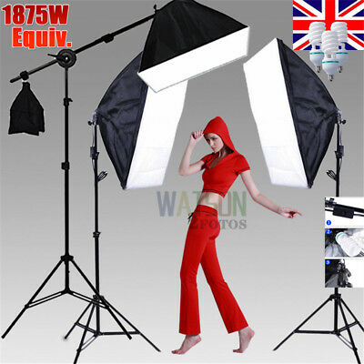 ☆2875W Studio Softbox Continuous Lighting Photo 5 HEAD Soft Box Boom Stand Kit☆