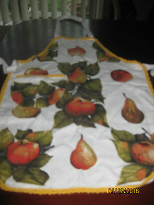 Linen Look  Apron With Crochet Edging - Pears & Apples