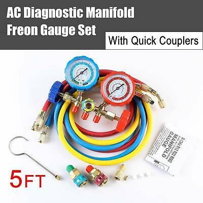 4-Valve R410A R22 R134A Manifold Gauge Set Quick Coupler 5ft Hose AC Adapter DMG