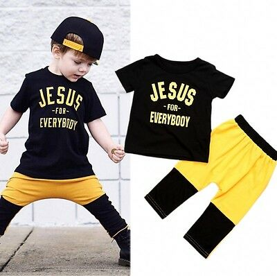 Toddler Kids Baby Boys Short Sleeve Tops T-shirt Pants Outfits 2Pcs Set Clothes