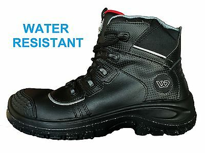 Mens safety shoes SAFETY HIKERS WENAAS toe cap mens black leather -OILMASTER wid