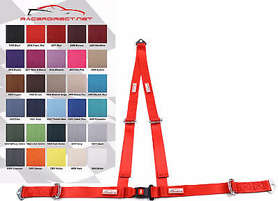 """3 Point Bolt In Seat Belt 2"""" V Harness Buggy Flame Red 30 Colors To Choose From"""