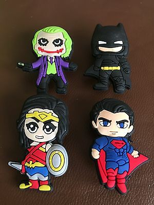 4 X Super Hero Pvc Shoe Charms, Wristbands,crafts
