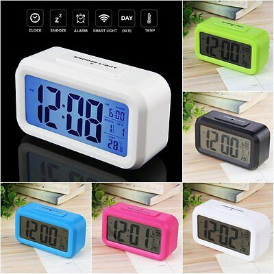 LED Digital Electronic Alarm Clock Backlight Time With Calendar + Thermometer R8