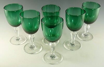 """ENGLISH Crystal - Victorian Green Wine Glasses - 5 1/8"""" - Set of 6"""