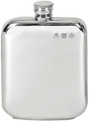 Orton West 6oz Pewter Screw Top Hip Flask - Silver