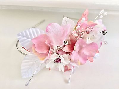 Artificial Pink Flowers And Leaves Vintage Wedding Tiara Headband Hair Accessory