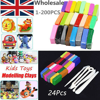 5 Tools+24 Colors Polymer Clay Sculpey Fimo Block Modelling Moulding DIY Toys UK