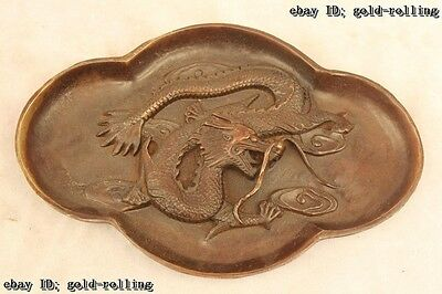 "5""China Folk excellent Bronze Lifelike Lucky beautiful Dragon plate Statue"