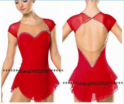 Ice skating dress.red Competition Figure Skating dress.Baton Twirling custom