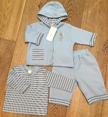 "Bnwt Adams Baby Boys 3 Piece Set ""little Pup""  100% Cotton & Lined 3-6 Months"