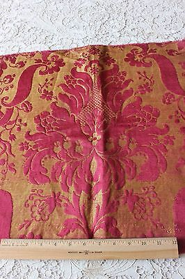 "Beautiful French Antique 18thC Silk Brocatelle Frame Fabric Textile~18""L X 19""W"