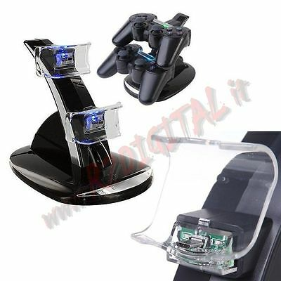 STAZIONE BASE DI RICARICA per 2 CONTROLLER PLAYSTATION 3 LED PS3 USB JOYPAD CAVO