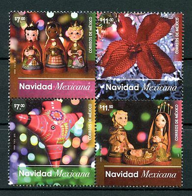 Mexico 2016 MNH Christmas Nativity Ornaments Decorations 4v Block Stamps