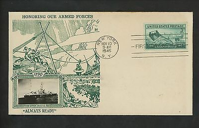 US FDC #936 Crosby M-53 11/10/1945 New York NY Coast Guard in WWII Military