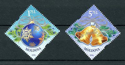 Moldova 2016 MNH Merry Christmas & Happy New Year 2v Set Ornaments Stamps