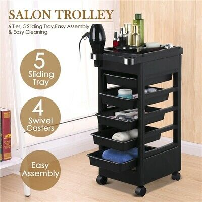 "32"" Plastic Hair Salon Trolley Storage Tray Cart Home Spa Hairdressing Trolley"