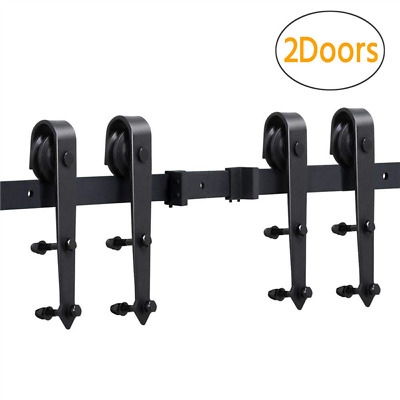 12FT Antique Double Wood Sliding Barn Door Track Hardware Set US Kitchen Closet