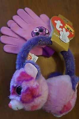 NEW Ty Beanie Boos Glamour Girl's Earmuff and Gloves Cold Weather Set Faux Fur