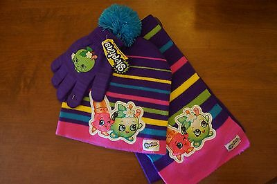 NEW Shopkins Girl's 3 Piece Cold Weather Set Hat, Gloves and Scarf