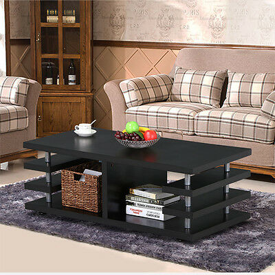 Modern Coffee Table Sofa End Table Rectangular Desk Storage Shelf Living Room