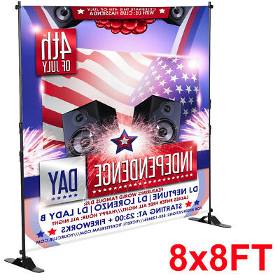 8'x8' Banner Stand Adjustable Telescopic Backdrop Display Trade Show Booth Wall