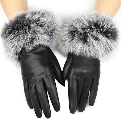 Ladies Womens Soft Faur Faux Leather Winter Driving GLoves Fleece Lined
