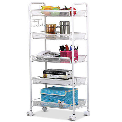 Rolling Kitchen Storage 5-Tiers Shelving Trolley Rack Basket Cart Shelf White US