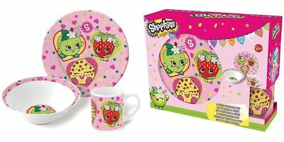 Shopkins 3PC Breakfast Set Ceramic Mug Bowl Plate Childrens Girls Dinnerware