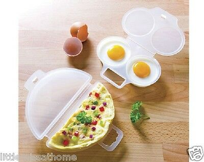 Microwave Omelette Maker & 2 Egg Poacher ( Plastic Cooker Cooking Poaching Set