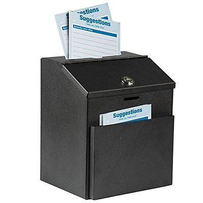 Adir Wall Mountable Steel Suggestion Box w/ Lock Donation Collection Ballot Key