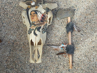 DWK 2002 Buffalo Head Decor With Carved Head and Eagle Along Stone Tomahawk