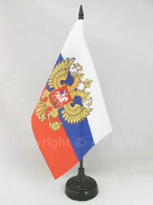 RUSSIA WITH EAGLE TABLE FLAG 5'' x 8'' - RUSSIAN COAT OF ARMS DESK FLAG 21 x 14