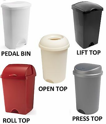 Addis Rubish Dust 50L 50 Litre Bin Flip Top Pedal Bin Press Top Bin Open Top Bin