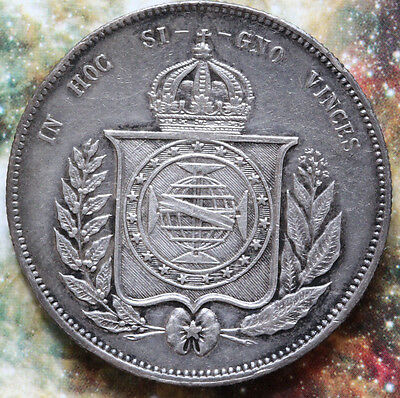 1855 BRAZIL 2000 REIS Sliver Crown -  Foreign coin