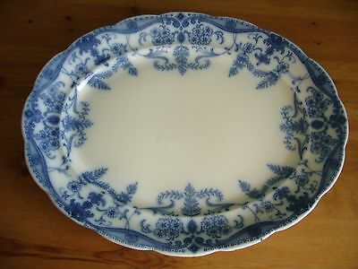 Antique Blue & White Meat Oval Plate Platter  Burgess & Leigh C1912 Large 18""
