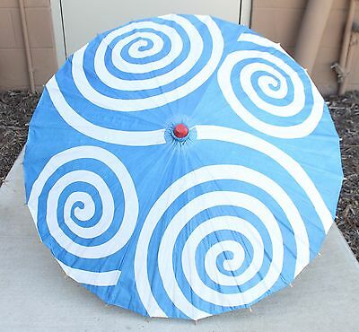 "23"" Inch tall Blue White Spiral Pattern Wood Paper Parasol Umbrella Decor Gift"