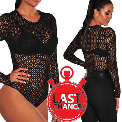 18291a46c1 Women s Floral Lace Black Sheer Mesh Long Sleeve Bodysuit Leotard Jumpsuit  S-L