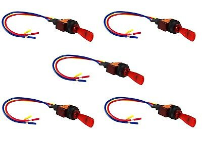 """Red Toggle Switch w/ 6"""" Lead Wire 3 Pin SPST Car Audio Power Fog Lights 5 Pieces"""
