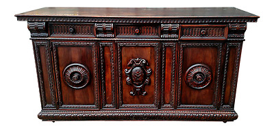 19th C CARVED RENAISSANCE Three Door SIDEBOARD CABINET Server Credenza