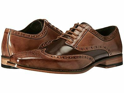 Stacy Adams Mens Tinsley Wingtip Oxford Dress Shoes Tan Brown Leather 25092-238