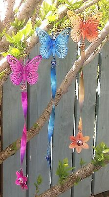 Set of 3 Metal Hanging Butterfly & Flower Wind Spinning Twister Garden Ornaments